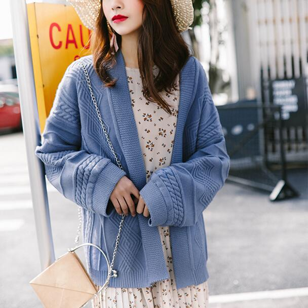V Neck Sweater Female 2018 Autumn Long Sleeve Plus Size Solid Cardigan Women Knitted Jacket Tops