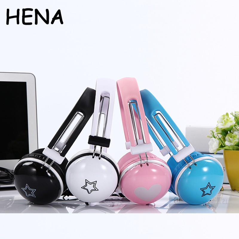 HENA With Package Cute Headphones Cartoon Big Headset Birthday Gifts kid Candy Color for iphone Samsung Mobile Phones Best gift cartoon kid supercharged