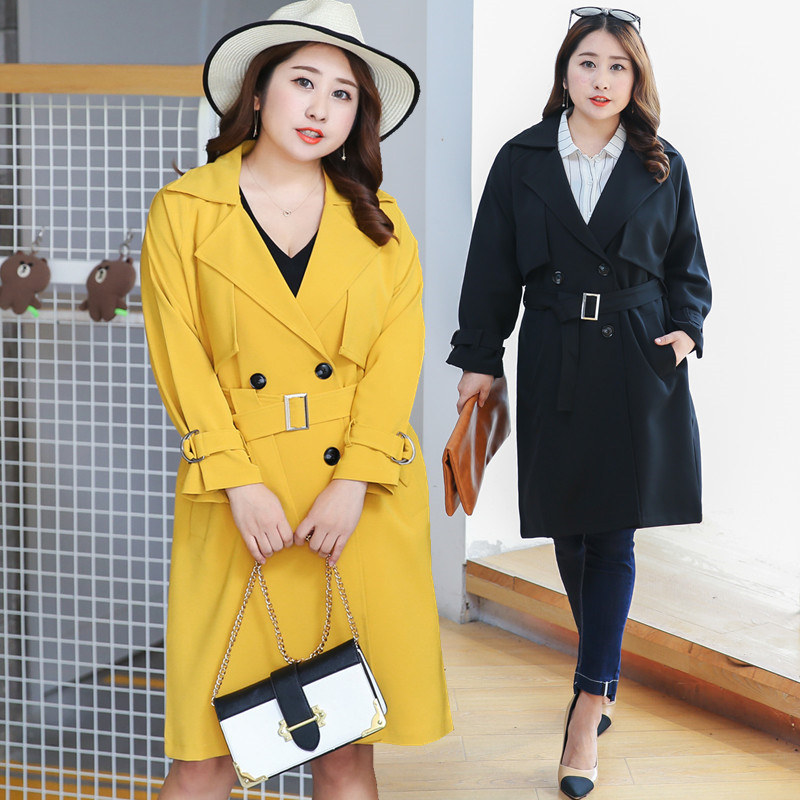 TUHAO 2018 Autumn winter Lady belt long turn-down collar   Trench   slim solid sashes Office Lady full   Trench   large size coat LQ30