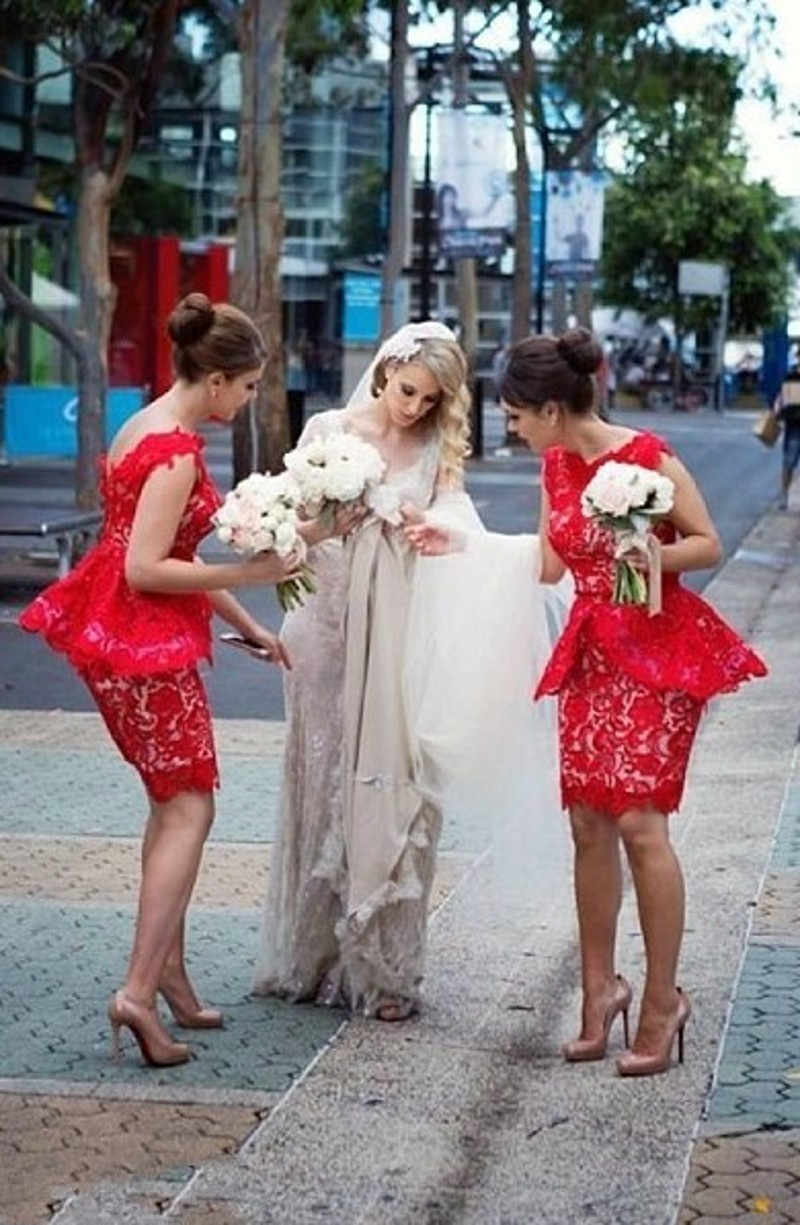 fashion red short Bridesmaid Dresses 2016 backless slim lace wedding ...