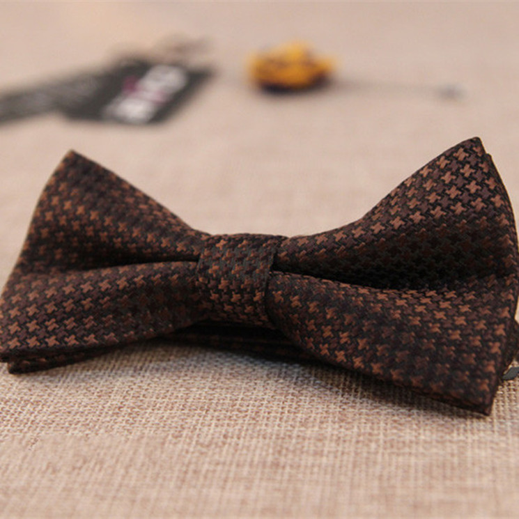 Vintage Fashion Brown Plaid Patchwork Polyester Bow Tie,Mens Necktie, Bowties For Men, Butterfly Tie Men