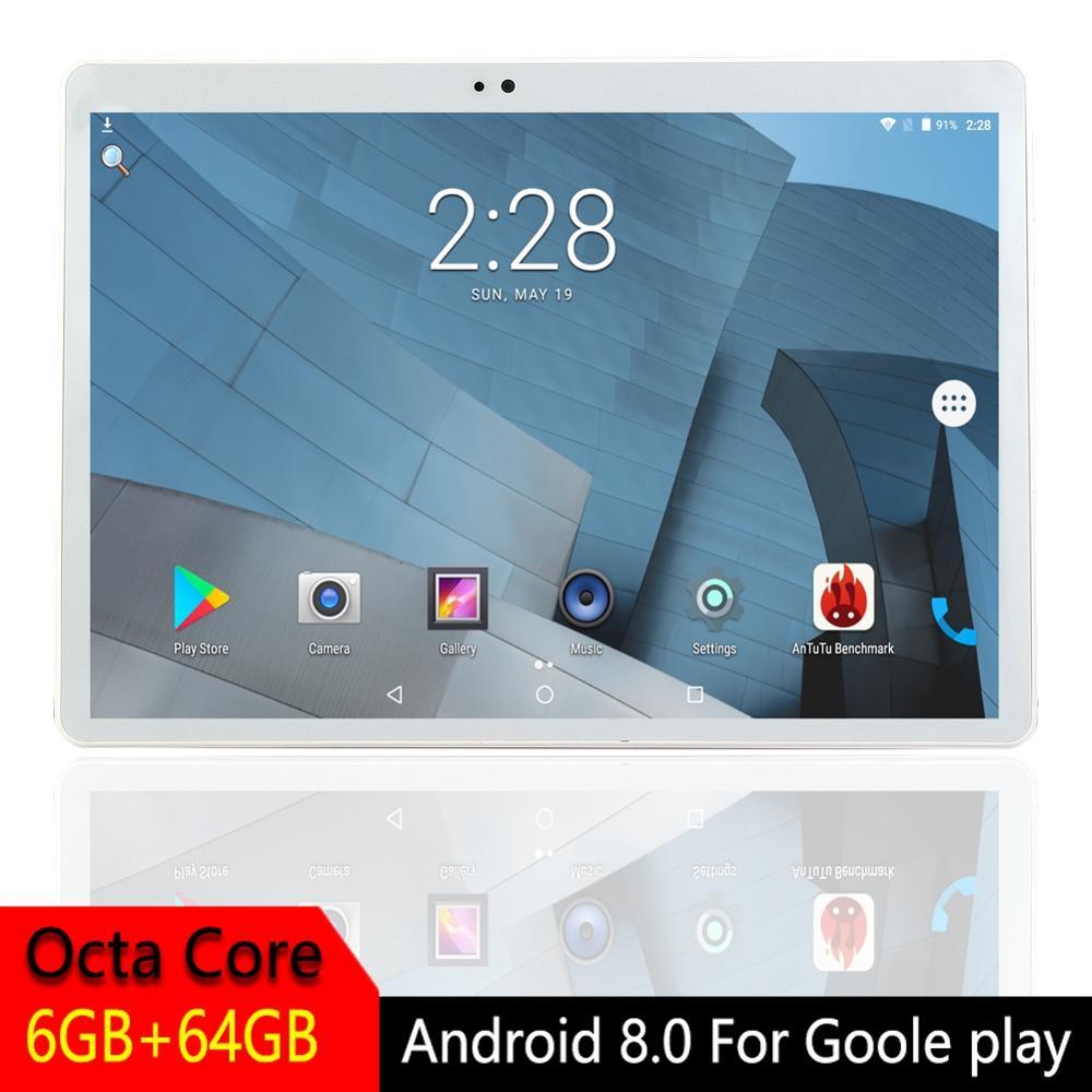 Tablette en métal 10 pouces IPS Octa Core 3G 4G LTE Android 8.0 pour Google Play double SIM Bluetooth GPS tablette RAM 6 GB ROM 64 GB ou 128 GB