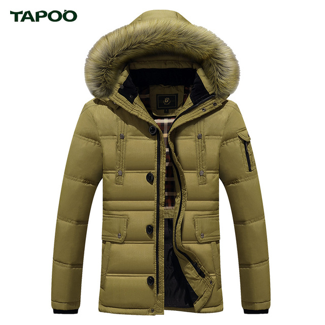 Tapoo Mens Down Coats Polyester Winter Jackets Thick 50% White Duck Down Casual Outerwear Windproof Handsome Plus Size M-3XL