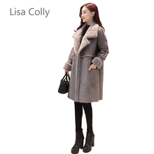 Lisa Colly 2017 Autumn Winter Women Faux Fur font b Coat b font Jacket Women Long
