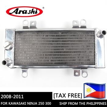 Arashi Shipped from PHILIPPINES For KAWASAKI NINJA 250 300 Radiator Cooler Motorcycle Cooling Parts Aluminum Engine Water