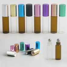 High Quality Clear Amber 2ml 3ml 5ml 10ml roll on roller bottles for essential oils roll-on refillable perfume bottle 50pcs