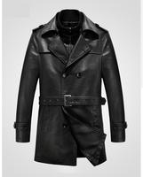 Sexemara Of Autumn Winter Men 's Leather Trench Coat Long Double Breasted Brand Sheepskin Fur Coat Jaqueta Couro Leather Jacket
