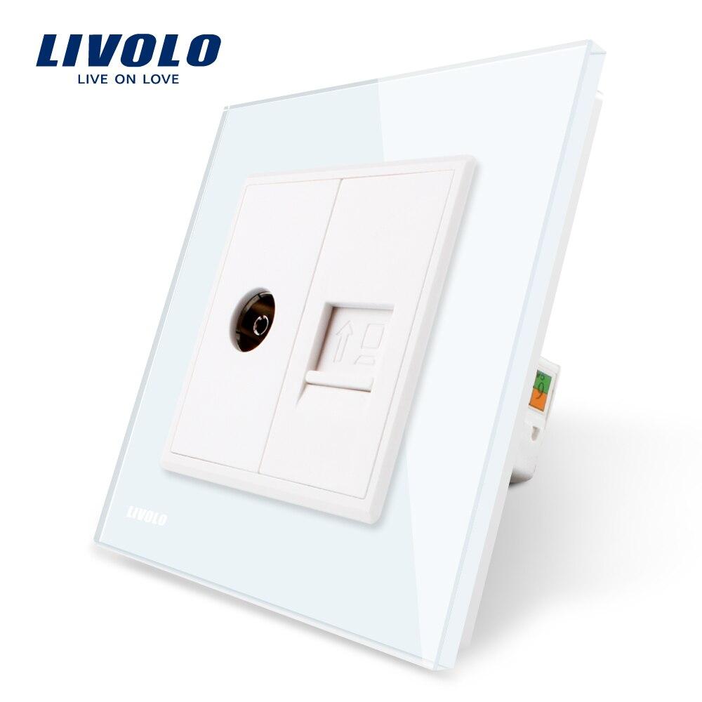 Fabricación Livolo, 4 colores Panel de cristal, 2 Gangs computadora de pared y toma de televisión, c791VC-11/12/13/15, sin adaptador de enchufe