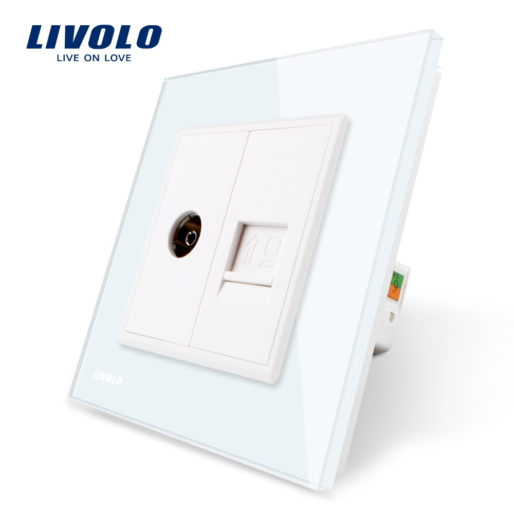 Manufacture Livolo, White Crystal Glass Panel, 2 Gangs Wall Computer and TV Socket / Outlet VL-C791VC-11, Without Plug adapter atlantic brand double tel socket luxury wall telephone outlet acrylic crystal mirror panel electrical jack