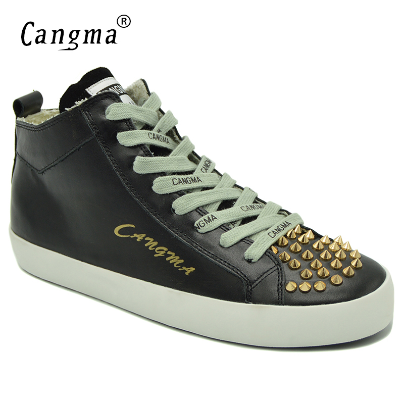 CANGMA Famous Genuine Leather Shoes Mid Women's Rivets Lace Up Footwear Brand Sneakers For Girls Black Flats Female Casual Shoes cangma original black footwear woman s casual shoes mid genuine leather sneakers women trainers female adult handmade shoes