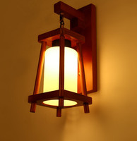 European Modern Stairs Aisle Wall Lamp Creative American Country Balcony Bar Study Wooden Glass Decorate Wall Light Fixture