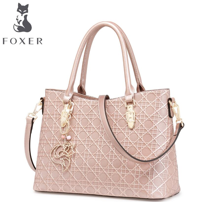 FOXER 2016 new superior cowhide women genuine leather bag fashion geometric texture famous brands women leather