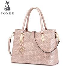 FOXER 2016 neue überlegene rindsleder frauen echtledertasche mode geometrische textur berühmte marken frauen handtaschen aus leder tasche