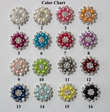 Free Shipping 28mm 50pcs/lot Flatback Rhinestone Button With Pearl For Hair Flower Wedding Embellishment LSB002