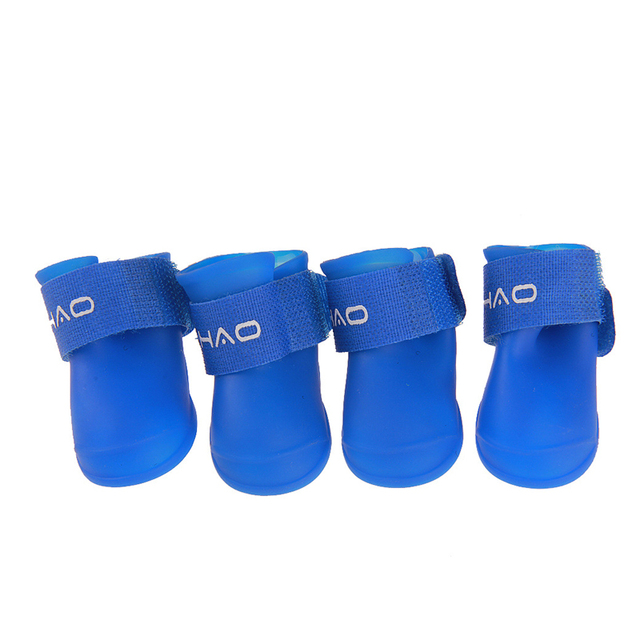 Hot 4pcs/set Dog Shoes Waterproof Rain Shoes Small Dogs Cats Breed Pet Cat Dog Socks Rubber Silicone Boots For Dogs Winter Socks 2