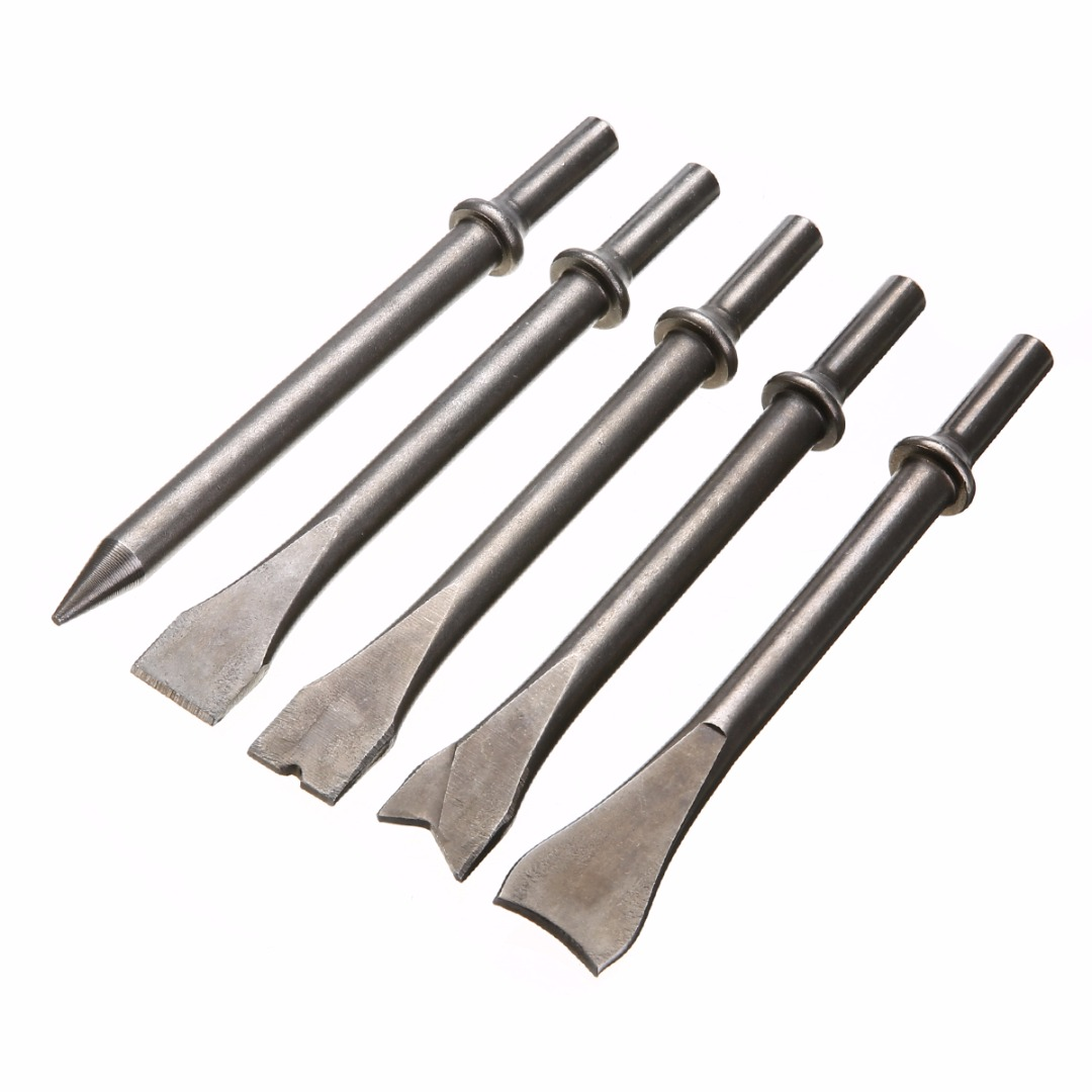 5pcs/set 7'' Inch Extra Long Air Hammer Chisel Set Pneumatic Punch Chipping Chisel Drill Bits Mayitr Repair Tools chrome vanadium steel chisel chisel punch 6 piece punching bench chisel combination