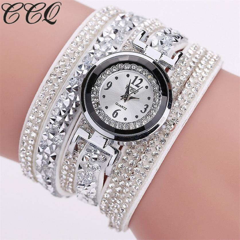 CCQ Women Fashion Casual Analog Quartz Women Rhinestone Watch Bracelet Watch relojes mujer 2017 Bayan Kol Saati Wholesale saat relojes mujer 2017 fashion women casual geneva roman leather band analog quartz wrist watch hot sale bayan saat relogio feminino