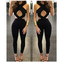 Black Criss Cross High Cut Out Sexy Full Length Overalls Ladies Sleeveless Skinny Sexy Club Wear
