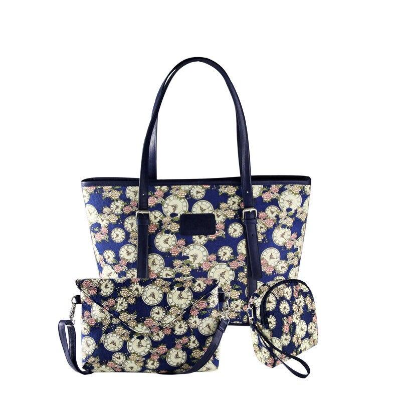 Designer Floral Canvas Composite Bag Ladies Printing Casual Tote Bag Fashion Blue Red Crossbody Bag Clutch