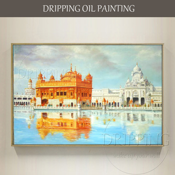 Professional Artist Hand-painted High Quality Temple Landscape Oil Painting on Canvas Temple Picture Temple Building Painting