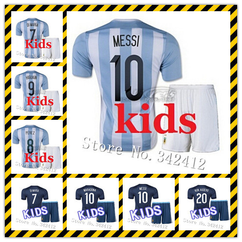 51b5d3187 New Kits MESSI Argentina Kids Jerseys 2015 Home Away white blue DI MARIA Kid  Soccer Jersey 15 16 Child Youth KUN AGUERO HIGUAIN