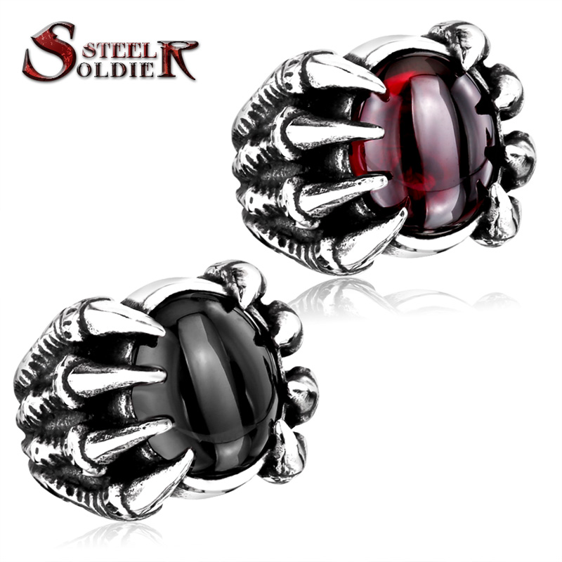 steel soldier High Qiuality Heavy Metal Dragon Claw Ring CZ zircon Exaggerated Personality Jewelry brand jewelry creative new flower can turn cactus exaggerated ring exaggerated fashion cute temperament ring