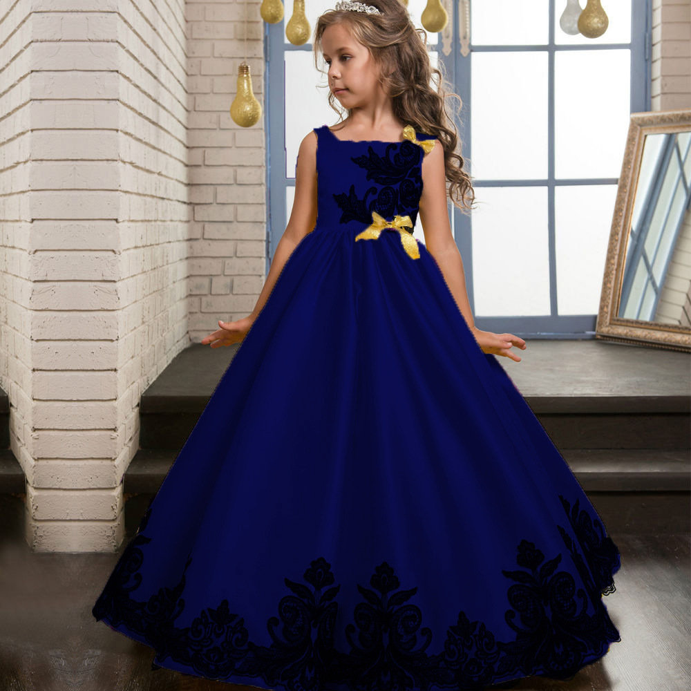 Girls Teenage Embroidered Flower Formal Party Ball Gown Prom Princess Bridesmaid Wedding Children First Communion Tutu Dress цены онлайн