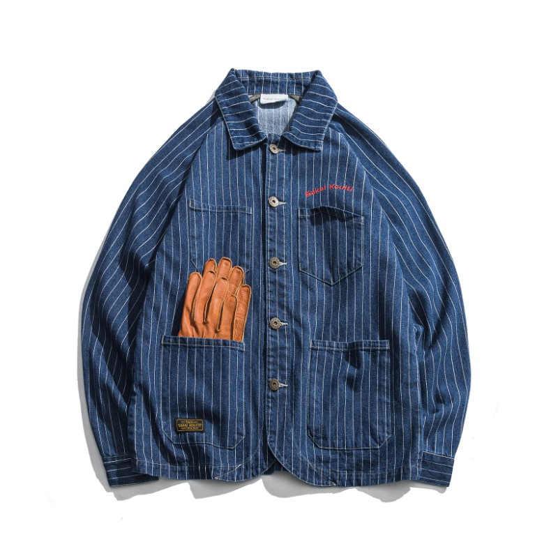 2019 New Fashion Mens Retro Denim Jacket Spring Japan Style Long Sleeve Men's Striped Cotton Jackets Cowboy Streetwear DS50331