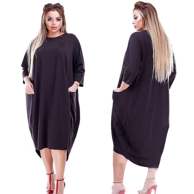2019 מכירה לוהטת נשים קיץ שמלה בתוספת גודל 6XL גדולות מוצקות צבע ישר מזדמן גדול גודל שמלת Vestidos מתנה Loose