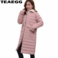 TEAEGG Plus Size Autumn Woman Winter Coats And Jackets Pink Mid Long Jacket Women Cotton Padded Womens Parka Coats Student AL608