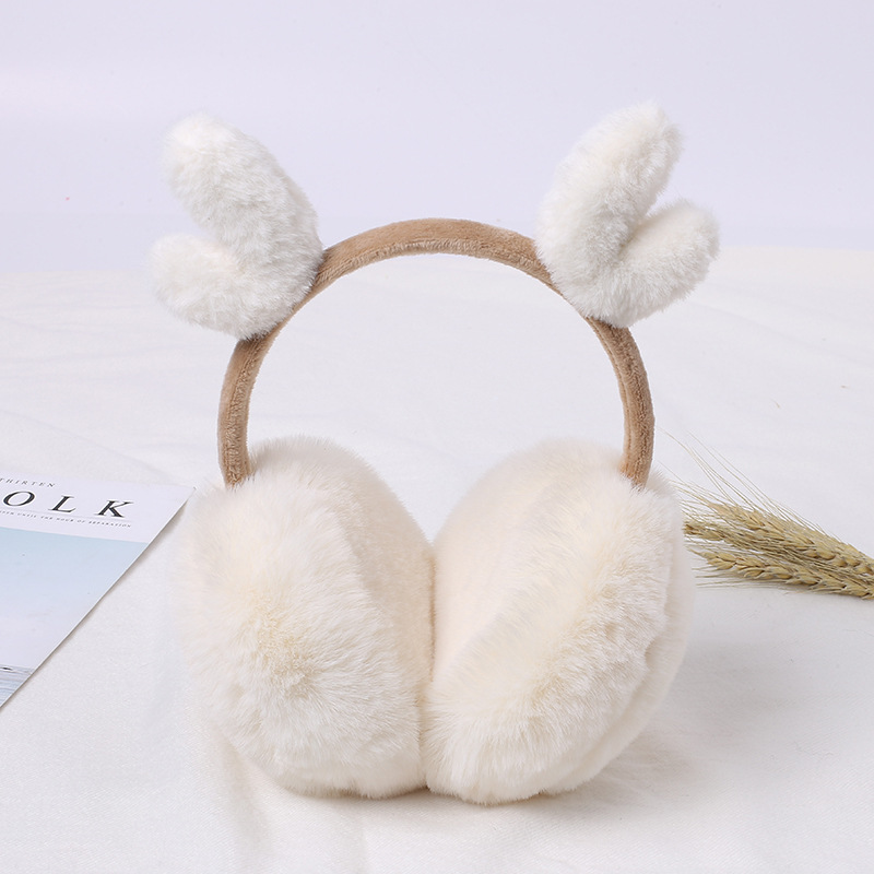 New Winter Earmuffs For Women Girls Boys Deer Earmuffs Warmers Winter Comfortable Warm Winter Earmuffs For Christmas E008-white