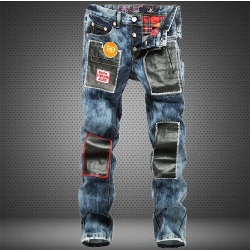 spot supply of snow wash splicing straight tube jeans pants, Europe and the United States Youth Youth Fashion City