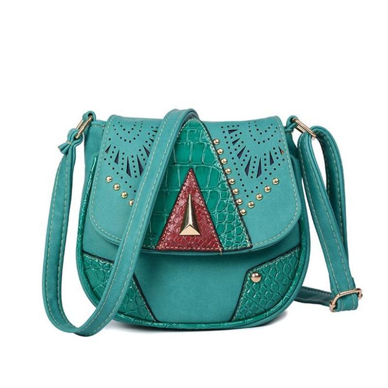 bags for women 2017 Women Messenger Bags Vintage Shoulder Bag PU Leather Hollow Out Rivet Ladies Crossbody Bag Handbag For Women