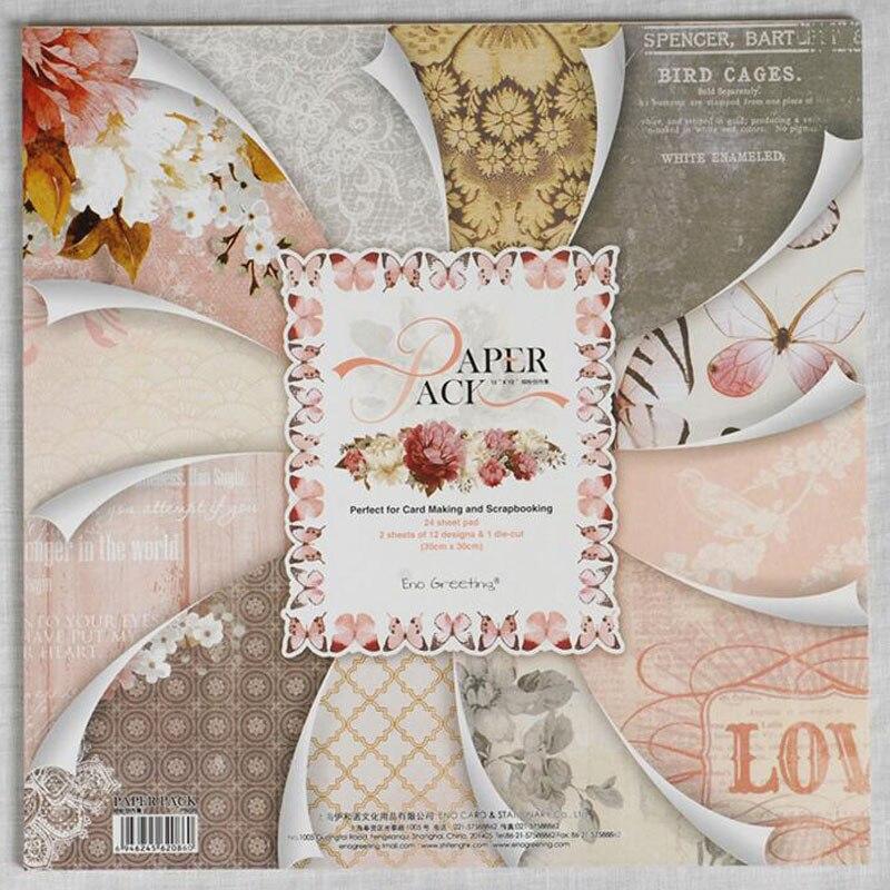 Charm Beautiful Printed Pattern Decorative Scrapbooking Paper Set Of 24 Sheets Diy Handmade Background Photo Album Craft