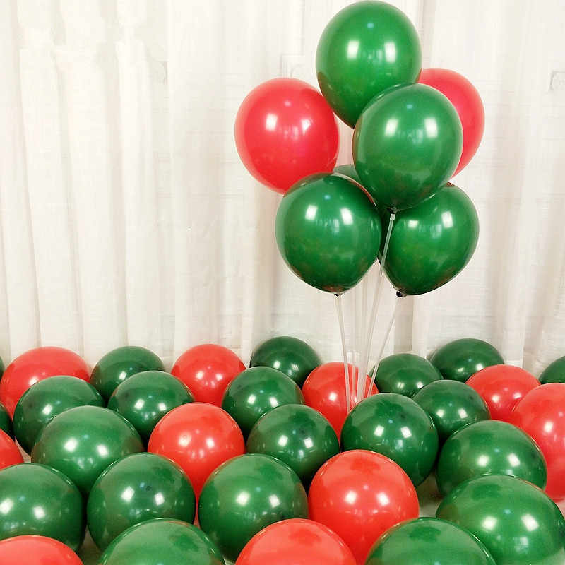 10pcs 12inch 5inch Macaron Green Red Latex Balloons Baby Shower Boy Ballons Mariage Wedding Christmas Decorations Party Balloons