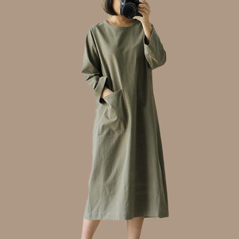 Midi Dress Slit Round neck Long sleeve Business Retro Pocket Plus size Clothing