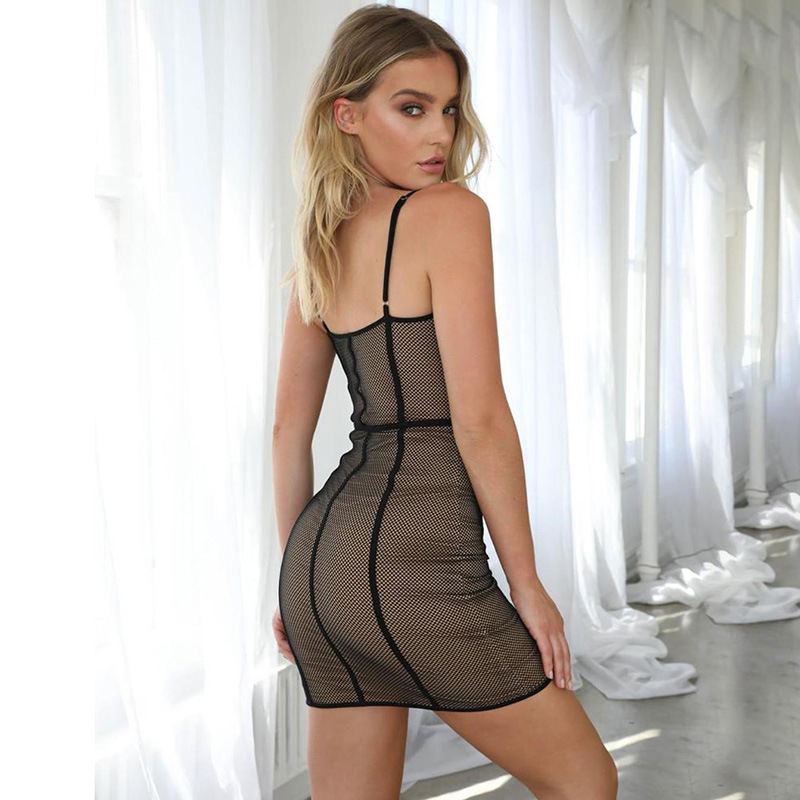WannaThis Spaghetti Strap V Neck Party Dress Slim Solid Sleevesless Patchwork Mesh Sexy Women Fashion Club Mini Dress in Dresses from Women 39 s Clothing