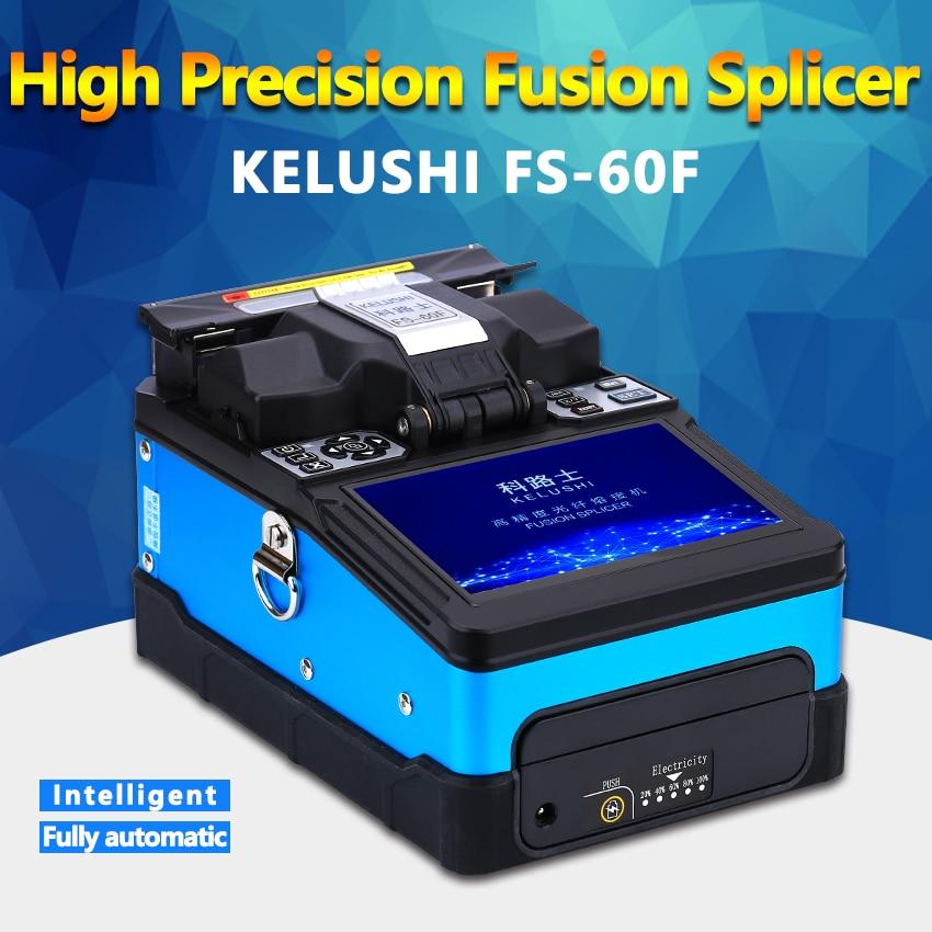FTTH Fibra Óptica Splicer Da Fusão Da Máquina Automática KELUSHI FS-60F Splicers Fibra Óptica Máquina de Emenda de Solda azul
