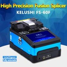 Kelushi ftth máquina automática do splicer da fusão da fibra óptica FS 60F splicers de fibra óptica máquina de emenda de solda azul