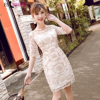 Casual Elegant Evening Dresses Long 2019 A-line Short Sleeve Formal Dresses Lace Round Collar Fashion Robe De Soiree ES1688