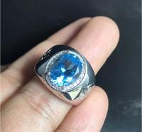 Мужское кольцо, обручальное кольцо с топазом, кольцо с драгоценным камнем, натуральный настоящий голубой топаз, кольцо из стерлингового сер