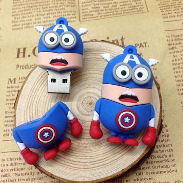 Cartoon Superman/super hero /captain/Batman/Ironman minion USB Flash Drive 8GB/U Disk/usb flash drive/Memory stick 16GB#21