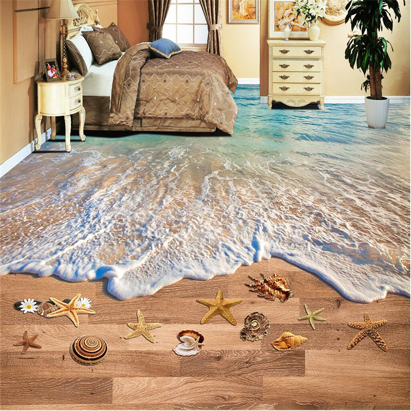 beibehang custom flooring 3d large decorative painting waves beach sand bathroom 3d floor tiles three dimensional painting