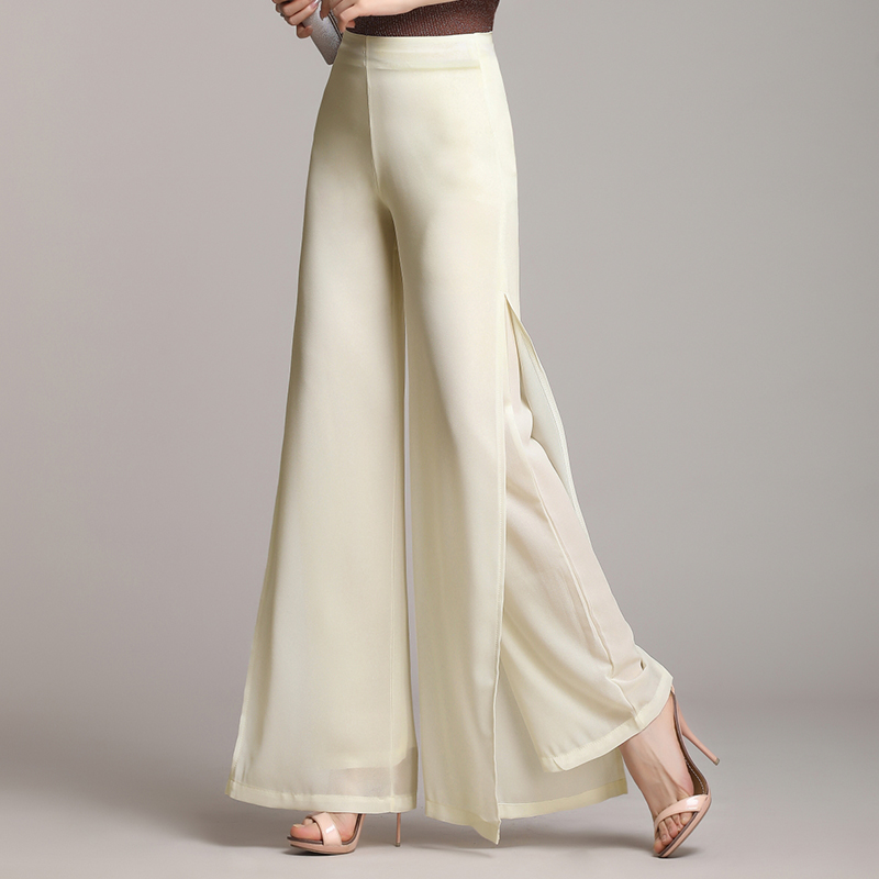 Apricot,Black,Blue,White Loose Trousers Summer Women High Waist Chiffon   Wide     Leg     Pants   S-4XL Plus Size Clothing