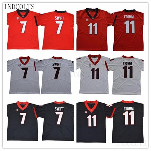 Georgia Bulldogs  11 Jake Fromm 7 DAndre Swift Black Red White college football  stitched Jerseys a9c8c3e76