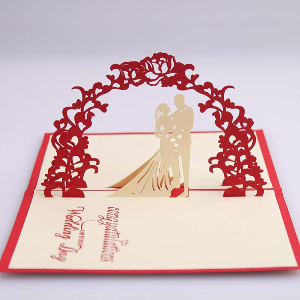 3D Stereo Luxury Handmade Pop Up Wedding Party Invitations Greeting ...