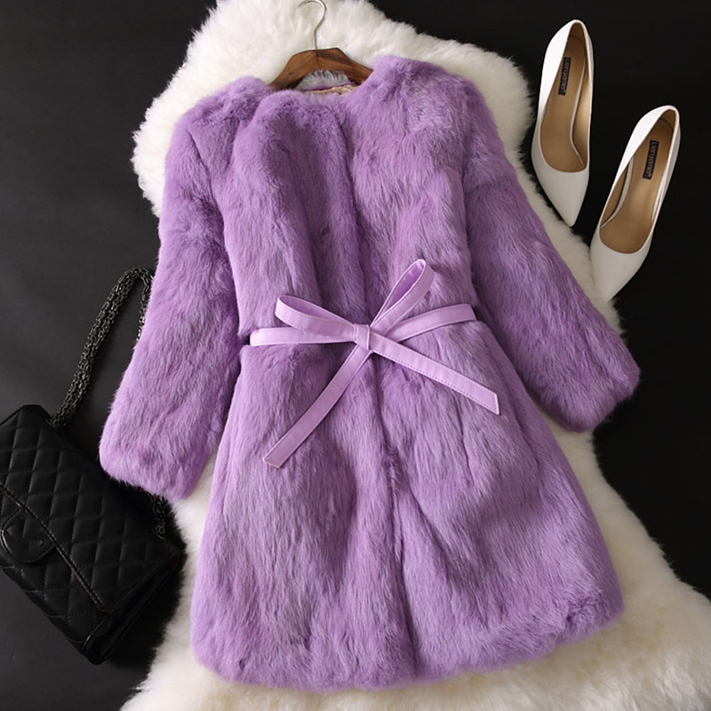Autumn And Winter Large size Solid color Fur Faux Fur Women 2019 New Casual Three Quarter