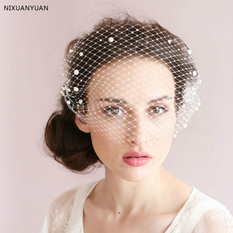 2020 New Fashion Bridal Net Hats White Hat Veil Bridal Flower Bow Bride Face Veils Wedding Bride Hats Wedding Accessories