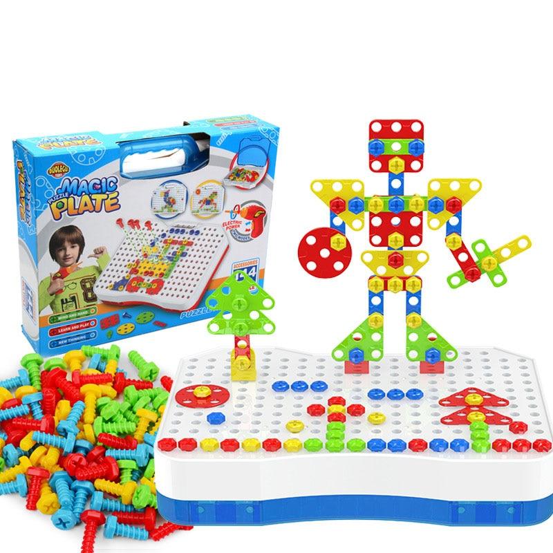 Souptoys Parent enfant jouets Puzzle 3D vis en plastique Animal esprit et main bricolage jouet éducatif voiture avion coloré cadeau Style 4