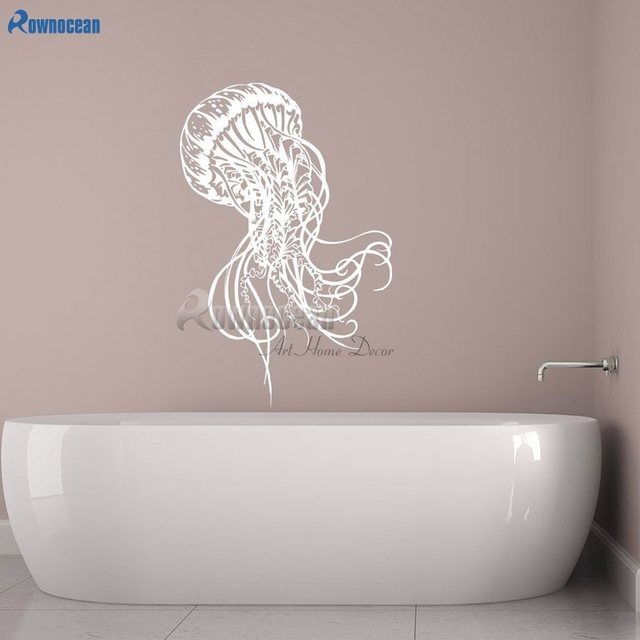 Rownocean Jellyfish Sea Wall Decals Bathroom Jelly Fish Sticker Ocean Animal Vinyl Home Decoration Art Washroom